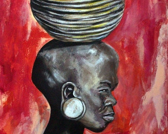 """Zulu Woman Original, acrylic Painting on 11"""" x 14"""" stretched canvas. Zulu Tribe, Africa, African woman"""