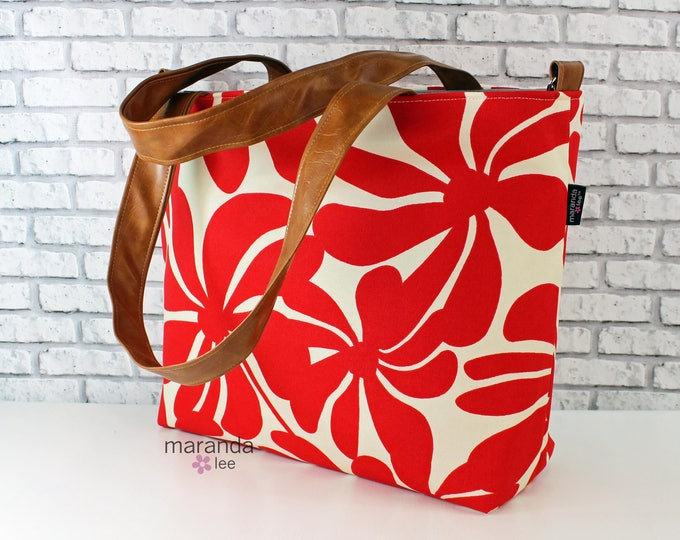 Extra Large Lulu Tote Overnight Diaper Bag- Red Hibiscus and PU Leather -  READY to SHIP  Dance Travel School Bag