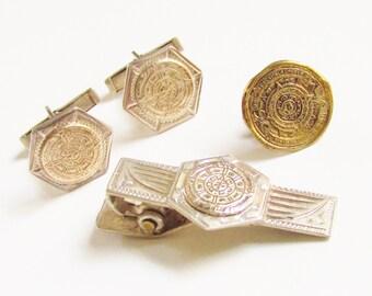 Vintage Sterling Aztec Calendar Cufflinks Tie clip Tie Tack Eagle Mark 38