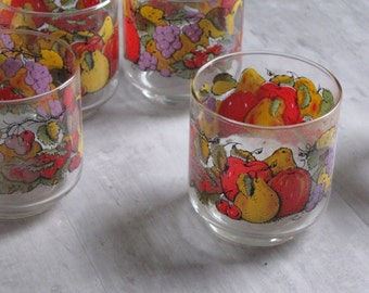 Vintage Set of 8 Libby Glass Fruit Drinking Glasses / Barware