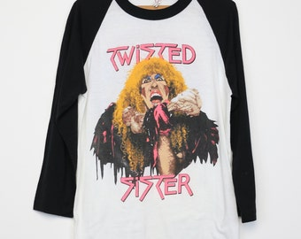 Twisted Sister Shirt Vintage tshirt 1984 Stay Hungry Tour concert tee raglan jersey 1980s Dee Snider glam metal music hard rock band 80s