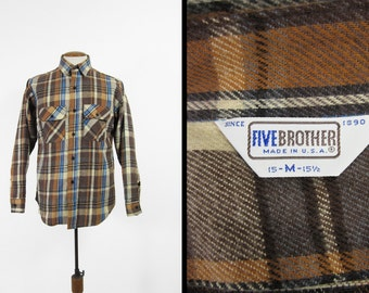 Vintage Five Brother Flannel Shirt Brown Cotton Long Sleeve Made in USA - Size Medium