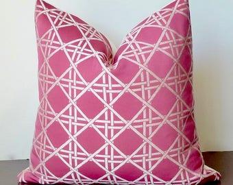 Pink lattice Designer Pillow Cover, Duralee, Pink White Throw Pillow, Geometric Contemporary Modern Decor Accent Pillow