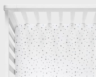 Star Crib Bedding, Star Crib Sheet, Changing Pad Cover, Gray and White Baby Bedding, Adventure Nursery Bedding, Adventure Awaits Stars