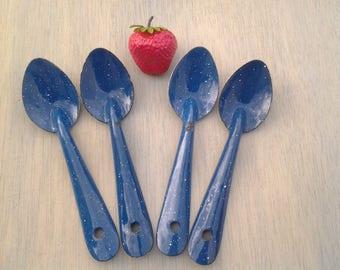 Vintage blue enamelware teaspoons - enamel spoons - camping spoons - glamping - teaspoon set - blue kitchen - outdoor dining - graniteware