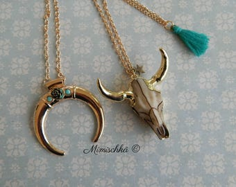 Necklace buffalo skull moon pompom gypsy bohemia