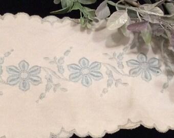 Vintage  Ivory Polyester Trim with Blue Embroidery Scalloped Edges, Vintage Trim< Vintage Lace, Lingerie Lace, Blue Flowers