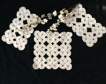 Vintage Handmade Ivory Crocheted 3 Piece Chair Back Set or Doilies