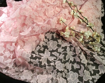 Vintage Pink Cotton Lace Fabric, Vintage Bridesmaid Wedding Lace, Vintage Material, Gown Fabric
