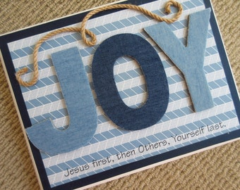 JOY Wall Decor WORD Art - Jesus First, Others Second, Yourself Last - Denim Blue and White w/ Jute on White
