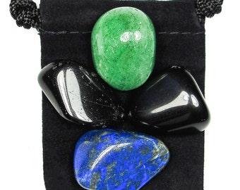 COMPASSION Tumbled Crystal Healing Set - 4 Gemstones w/Description & Pouch - Aventurine, Lapis Lazuli, Obsidian, and Tourmaline