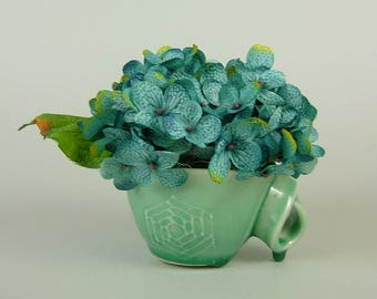 Handmade GREEN CUP with Twisted Handle with Artificial Plant / Turquoise Blue Hydrangea