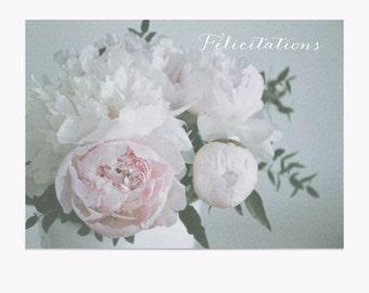 Postcard • Félicitations • Pivoines • Peonies