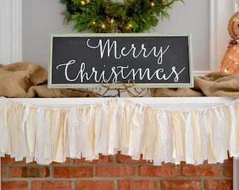 Rustic Christmas Decor - Christmas Mantle - Holiday Party Decor - White Christmas Garland - Christmas Garland - Christmas Banner - Holiday