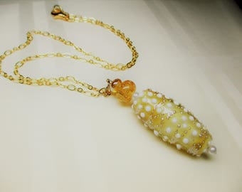 Polka Dot Lampwork Bead Pendant Necklace in Pale Amber