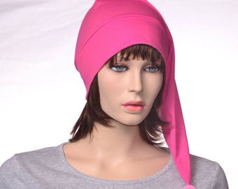 Hot Pink Nightcap Traditional Long Pointed Style Night Cap 100% Cotton Poor Poet Hat