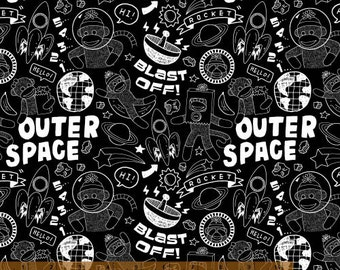 Sock Monkeys In Space - Blast Off by MYKT from Windham Fabrics