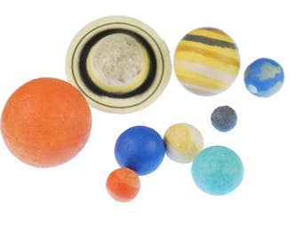 9x planet figures MonoBlocks Miniblings rubber Planet Earth Solar System