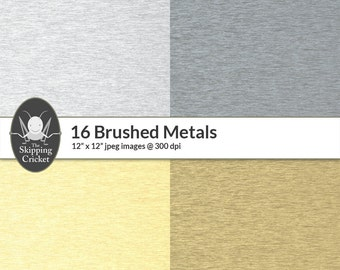 16 digital brushed metal papers, brushed metal textures, brushed metal backgrounds,copper,titanium,platinum,silver, cobalt INSTANT DOWNLOAD