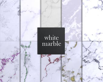 White marble digital paper, White marble paper, Marble paper, Marble backgrounds, Stone paper, White marble texture, Marble Digital Download