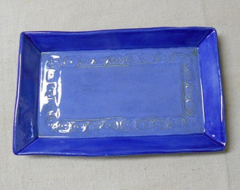 Large Hand Formed Square Platter with Spiral Scroll