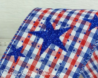 """Wired Ribbon, 2 1/2"""" Patriotic Red, White and Blue Check, Blue Glitter Stars - THREE YARDS - Offray """"Freedom"""" July 4th,  Wire Edge Ribbon"""