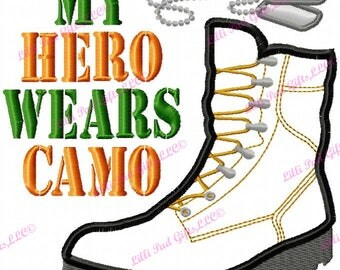 My Hero wears Camo-Boot and Tags - Applique - Machine Embroidery Design - 7 Sizes