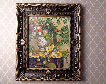 Dollhouse Picture Large Ornate Frame Floral Print Miniature Painting MiniaturePicture