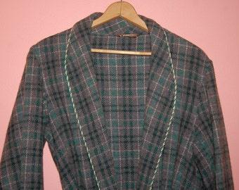 40's Men's Long Wool Robe Beacon Style Vintage Lounge Smoking Jacket