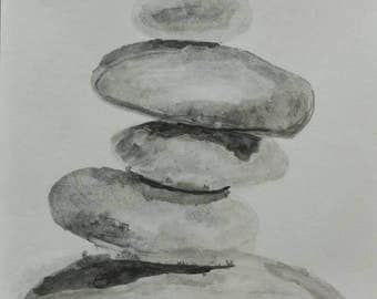 Zen beach rocks art, balancing rocks life style, meditation yoga art, seascape home decor nautical, stacked rocks simple minimalist decor