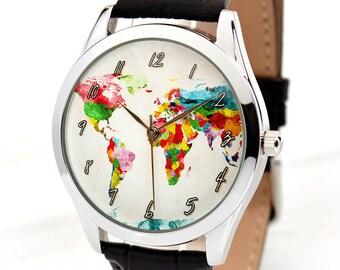 Map Watch   Watercolor Art World Map Watch   Traveler Gift   Travel Gits   Wanderlust   Best Friend Gift   Daughter Gift   FREE SHIPPING