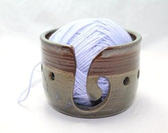 Ceramic Yarn Bowl in Rust, Transluscent Blue and Green Ceramic Knitting Bowl