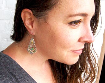 Chevron Dangle Earrings Mexican Abalone Sterling Silver Geometric Dangles Vintage Reticulated Modern Jewelry