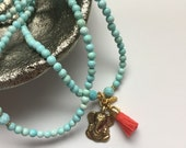 Listing for JOHNA: Ganesha TURQUOISE long layering necklace with RUBY