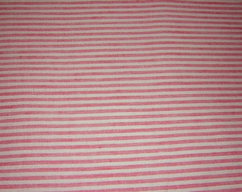 """3 3/4 Yards Vintage Red & Cream 100% Cotton Chambray 50's fabric woven stripe  - 45"""" wide"""