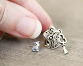 Tiny tabby kitten in a locket - miniature cat in a metal box