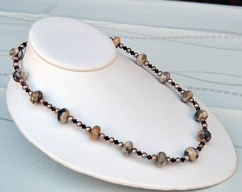 Feldspar, Pearls, Swarovski, Sterling Silver Necklace