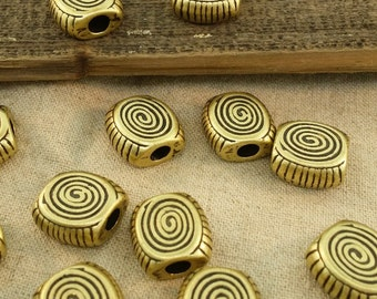 Large hole flat spiral brass beads