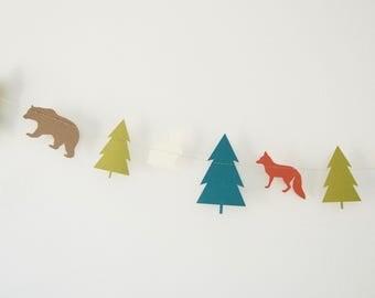 Woodland Creatures Garland, Bear Garland, Fox Garland, Rabbit Garland, Forest Banner