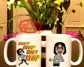 Custom Bitmoji 15oz Mug, Caricature Mug, Personalized Coffee Mug -- Great Birthday, Teacher, Graduation, Retirement Gift!