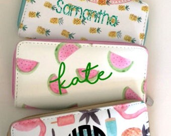 Custom Monogrammed/Personalized Faux Soft Leather Full-Zipper Wallet, Perfect gift for Birthday, Mother's Day, Bridesmaids, etc!