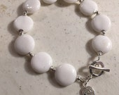 Reserved for Melissa - White Jade Bracelet - Sterling Silver - 9 inches