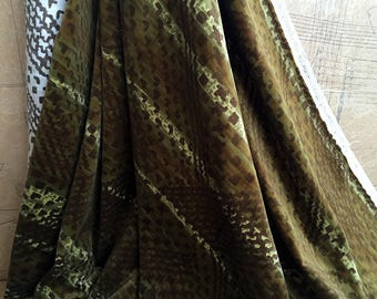 Vintage Home Furnishing Abstract Checkmate Fabric. Length 2.5m Velvet Fabric by Lister. Vintage Greens