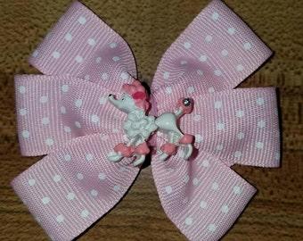 Pink Poodle Polka Dot Hair Bow