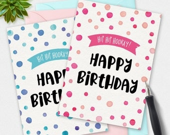 Printable Card, Happy Birthday card 2 pack, Thanks card, polkadot card, greeting card, handwritten card, printable birthday card, blue pink