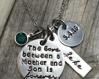 The love between a mother and son is forever hand stamped necklace