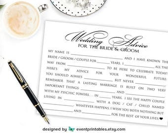 Wedding Mad Libs, Bridal Shower Mad Libs, Wedding Advice Cards, Bridal Shower Game, Funny Mad Libs Printable Digital File - Event Printables