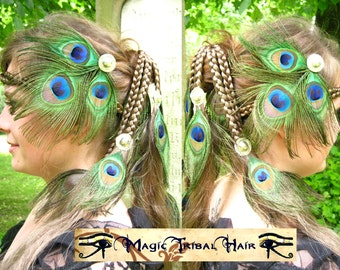 TRIBAL FUSION peacock feather hair JEWELRY - hair clip & brooch Belly Dance accessory barrette fascinator Faery fae fantasy headpiece