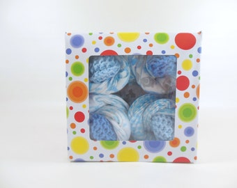 Baby Cupcakes, Washcloth Cupcakes, Burp Cloth Cupcakes, 12 Cloth Wipes in Blue Elephants & Two Sets of Baby Booties in Blue