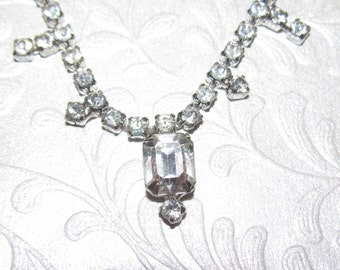 Vintage Kramer Rhinestone Necklace ~ Silver Tone